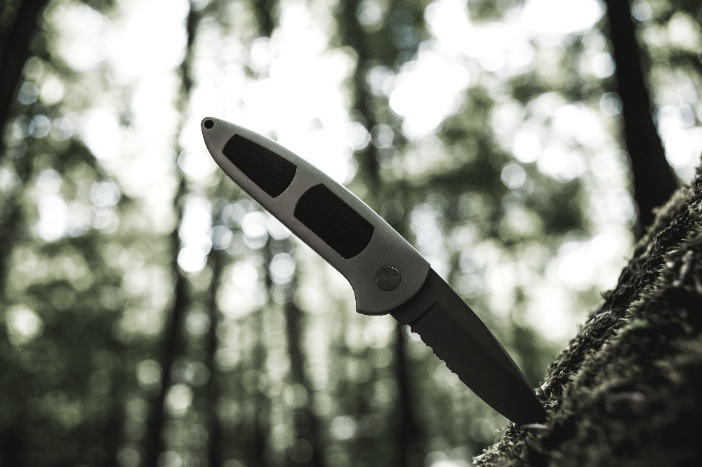 knife sticking out of a tree
